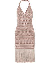 Hervé Léger - Fringed Metallic Stretch Jacquard-knit Dress - Lyst