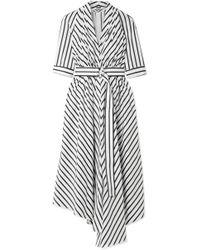 Adam Lippes - Asymmetric Pleated Striped Cotton-poplin Midi Dress - Lyst