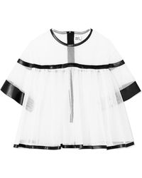 Noir Kei Ninomiya - Faux Leather-trimmed Tulle Blouse - Lyst