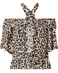 Temperley London - Wild Cat Off-the-shoulder Leopard-print Crepe Top - Lyst