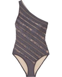 Zimmermann - Lovelorn One-shoulder Lace-paneled Swimsuit - Lyst