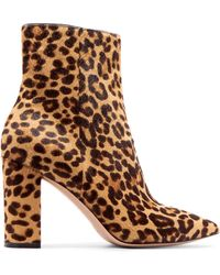 Gianvito Rossi - 85 Leopard-print Calf Hair Ankle Boots - Lyst