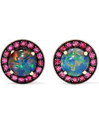 Andrea Fohrman - 18-karat Rose Gold, Opal And Ruby Earrings - Lyst