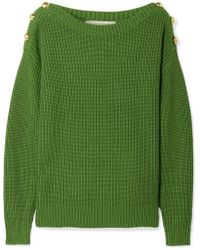 MICHAEL Michael Kors - Button-embellished Ribbed Cotton-blend Sweater - Lyst