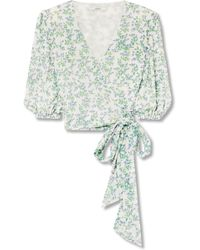 Ganni - Tilden Cropped Floral-print Mesh Wrap Top - Lyst