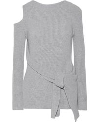 3.1 Phillip Lim - Draped Cutout Ribbed Wool And Yak-blend Jumper - Lyst