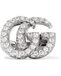 Gucci - 18-karat White Gold Diamond Clip Earring - Lyst