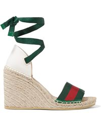 4de983bb333b Gucci - Lilibeth Striped Grosgrain And Canvas Wedge Espadrilles - Lyst