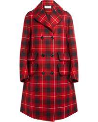 Gucci - Oversized Appliquéd Tartan Wool Coat - Lyst