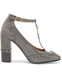 Chloé - Perry Embellished Patent-leather T-bar Court Shoes - Lyst