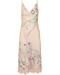 Carine Gilson - Chantilly Lace-paneled Printed Silk-satin Chemise - Lyst
