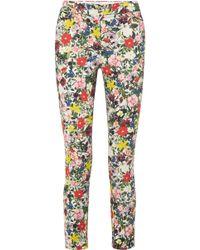 Erdem - Sidney Floral-print Stretch-cotton Slim-leg Trousers - Lyst