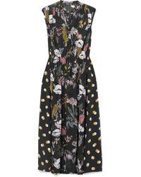 Markus Lupfer - Isla Printed Silk Crepe De Chine Midi Dress - Lyst