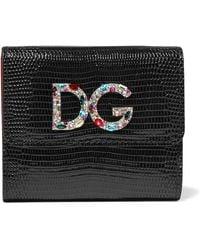 Dolce & Gabbana - Embellished Lizard-effect Patent-leather Wallet - Lyst