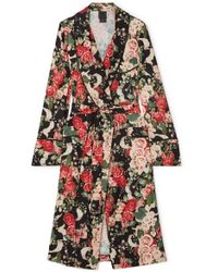 Anna Sui Rose Garland Floral-print Crepe Robe