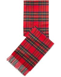 Johnstons - Fringed Tartan Cashmere Scarf - Lyst