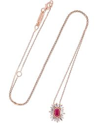 Suzanne Kalan - 18-karat Rose Gold, Ruby And Diamond Necklace Rose Gold One Size - Lyst