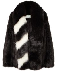 Off-White c/o Virgil Abloh - Oversized Striped Faux Fur Jacket - Lyst