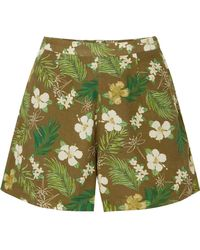 Miguelina - Axa Printed Cotton-voile Shorts - Lyst