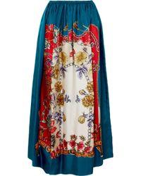 Gucci - Printed Silk-twill Midi Skirt - Lyst