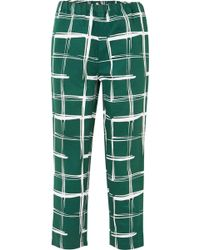 Marni - Printed Cotton And Flax-blend Slim-leg Trousers - Lyst