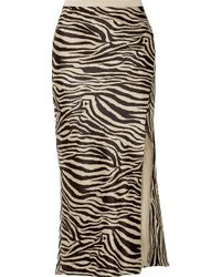 Anine Bing - Dolly Zebra-print Silk-satin Midi Skirt - Lyst