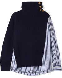 Sacai - Paneled Striped Cotton-poplin And Wool Top - Lyst