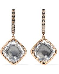 Larkspur & Hawk - Caprice Cushion 14-karat Rose Gold, Diamond And Quartz Earrings - Lyst