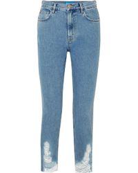 M.i.h Jeans - Mimi Frayed High-rise Slim-leg Jeans - Lyst