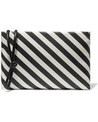 Dries Van Noten - Leather-trimmed Striped Satin Clutch - Lyst