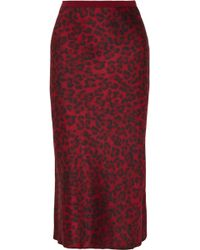 Anine Bing - Bar Leopard-print Silk-satin Midi Skirt - Lyst