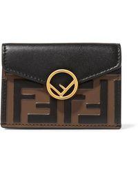Fendi - Embellished Embossed Leather Wallet - Lyst