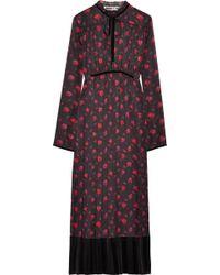 McQ - Velvet-trimmed Pleated Silk-jacquard Midi Dress - Lyst