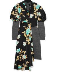 Junya Watanabe - Layered Wool And Floral-print Satin Dress - Lyst