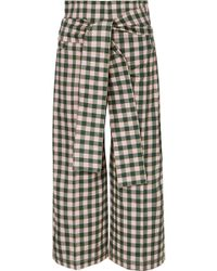 Silvia Tcherassi - Salve Cropped Gingham Cotton-blend Wide-leg Pants - Lyst