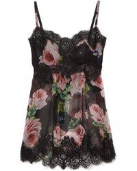 Dolce & Gabbana | Lace-trimmed Floral-print Silk-blend Chiffon Camisole | Lyst