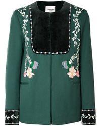 Vilshenko - Rosie Velvet-paneled Embroidered Wool-twill Jacket - Lyst