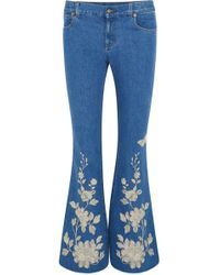 Gucci - Embroidered High-rise Flared Jeans - Lyst