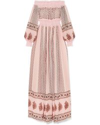 Giambattista Valli - Off-the-shoulder Shirred Lace-trimmed Printed Silk-georgette Gown - Lyst