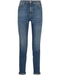 Alexander McQueen - Striped High-rise Skinny Jeans - Lyst