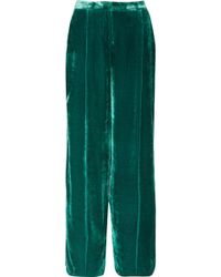 Zuhair Murad - Pantalon Large En Velours À Finitions En Satin - Lyst
