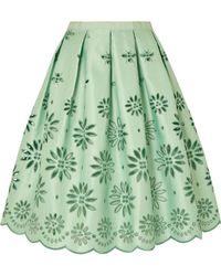 J.Crew - Embroidered Duchesse-satin Midi Skirt - Lyst