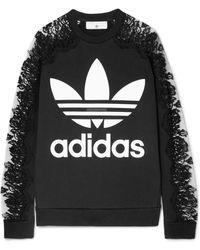 Stella McCartney - + Adidas Lace-paneled Printed Cotton-jersey Sweatshirt - Lyst