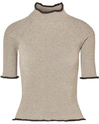 Golden Goose Deluxe Brand - Alya Metallic Ribbed-knit Turtleneck Top - Lyst