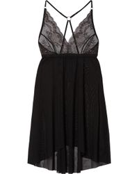 Hanky Panky - Mesh And Metallic Lace Chemise - Lyst