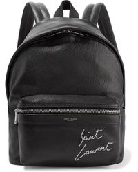 Saint Laurent - Mini Toy City Embroidered Textured-leather Backpack - Lyst