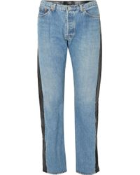 Vetements - Leather-paneled High-rise Straight-leg Jeans - Lyst
