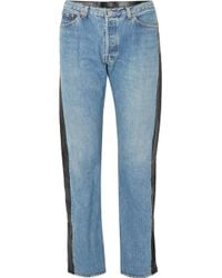 Vetements | Leather-paneled High-rise Straight-leg Jeans | Lyst
