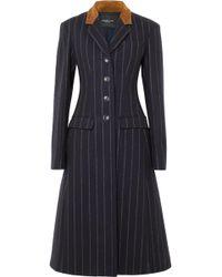 Derek Lam - Suede-paneled Striped Wool-felt Coat - Lyst