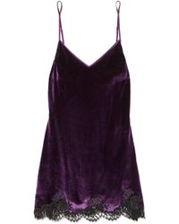 I.D Sarrieri - Chantilly Lace-trimmed Velvet Chemise - Lyst